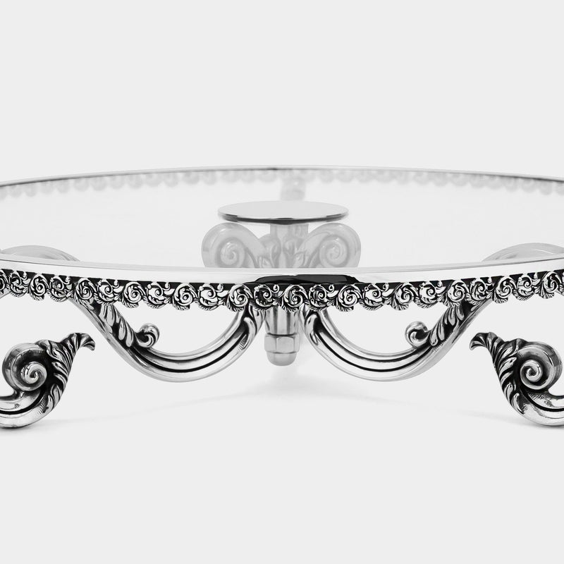 Glass Cake Stand Baroque with Silver-plated Decorations-ANTORINI®