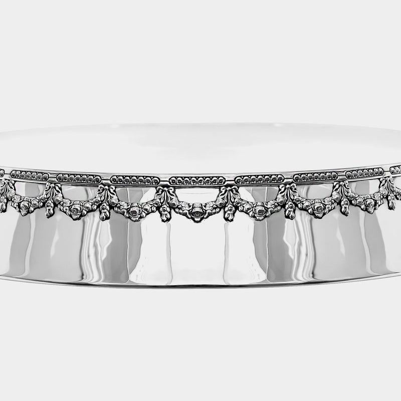 Wedding Cake Stand with Floral Decorations, Silver-plated-ANTORINI®