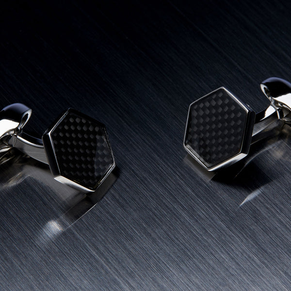 Hexagon Men's Cufflinks, Carbon Fiber, Black-ANTORINI®