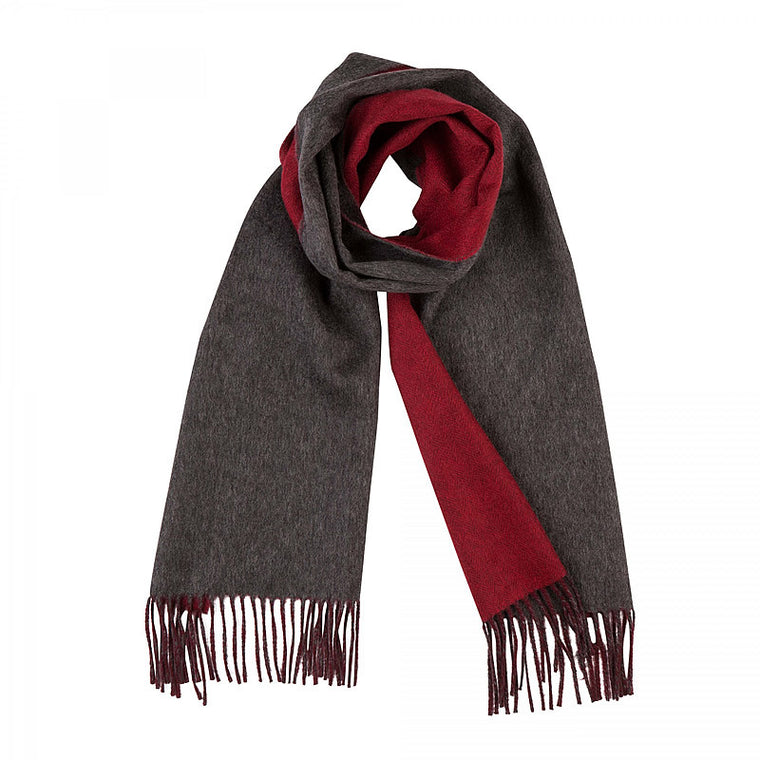 Cashmere Scarf, double-sided in Red and Grey