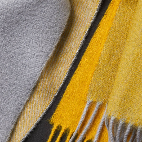 Cashmere Scarf in Yellow and Grey