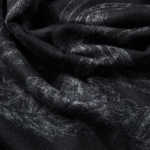 Cashmere Scarf with Floral Motif in Black and Grey-ANTORINI®