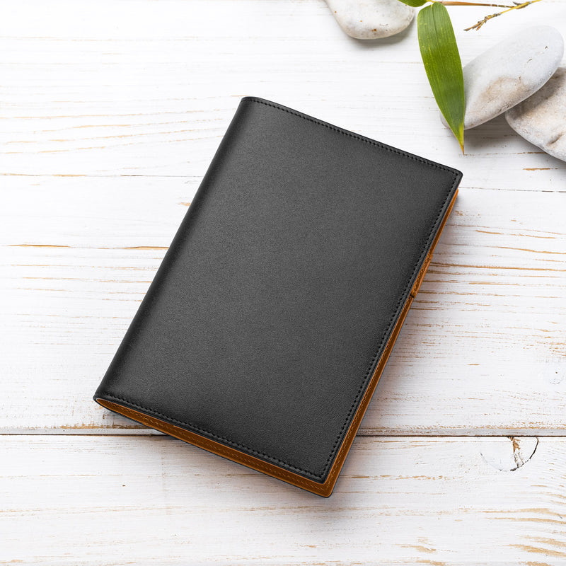 A6 Leather Diary / Journal in Black and Cognac-ANTORINI®