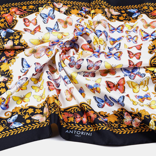Silk Scarf Butterflies in Black-ANTORINI®