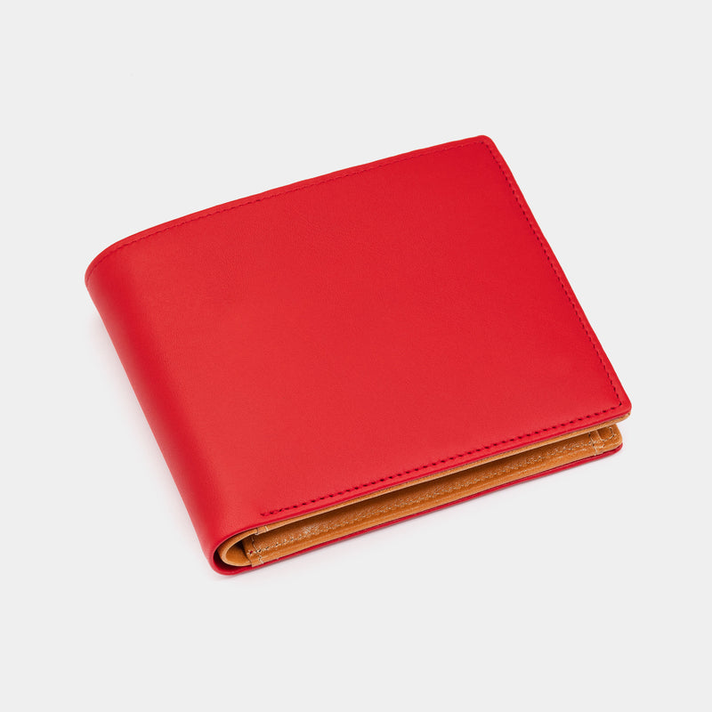 Men's Leather Wallet in Red and Cognac-ANTORINI®
