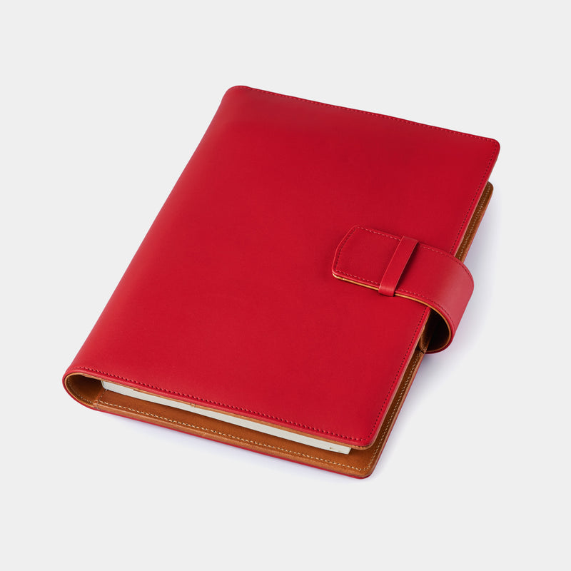 Leather A5 Portfolio in Red and Cognac with Notepad-ANTORINI®