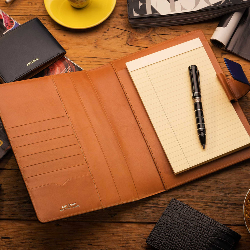 Leather A5 Padfolio in Navy and Cognac with Notepad-ANTORINI®