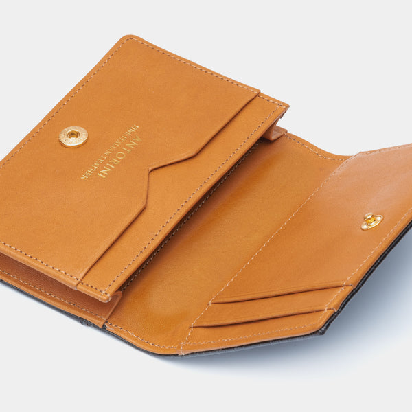 Credit and Business Card Holder in Black and Cognac-ANTORINI®