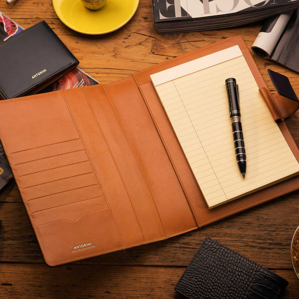 Leather A5 Padfolio in Black Croc and Cognac with Notepad-ANTORINI®