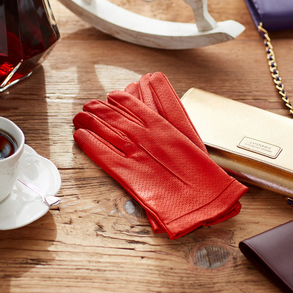 Silk Lined Leather Gloves in Coral-ANTORINI®
