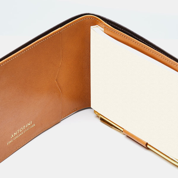 Pocket Memo Pad in Black Croc and Cognac-ANTORINI®