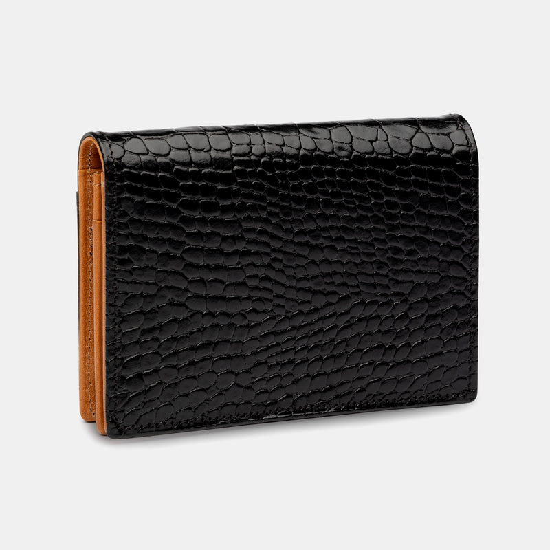 Credit and Business Card Holder in Black Croc and Cognac-ANTORINI®