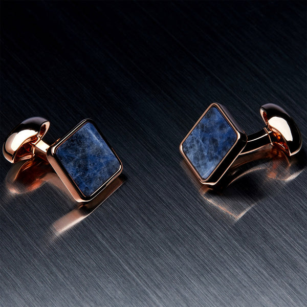 Men's Square Cufflinks, Blue Sodalite, Gold Plated-ANTORINI®