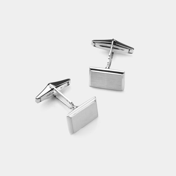 Men's Rectangle Silver Cufflinks, Silver 925/1000, 13 g-ANTORINI®