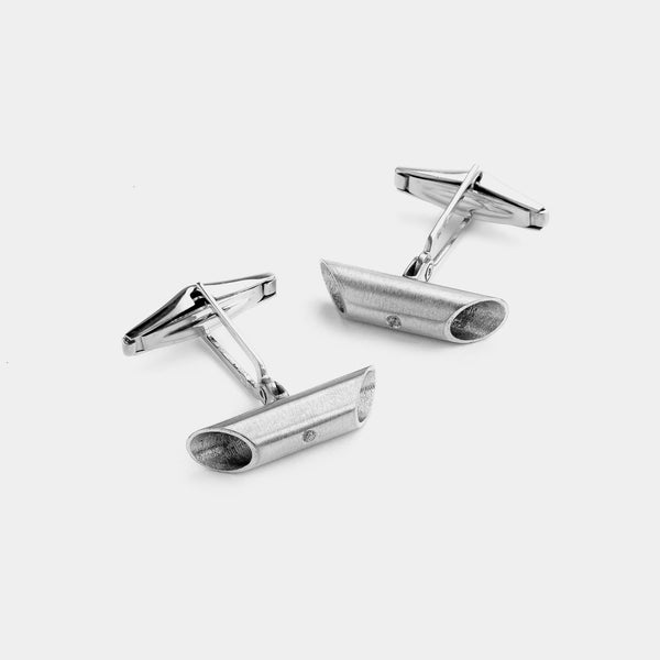 Men's Oval Silver Cufflinks with Diamond, Silver 925/1000, 14 g-ANTORINI®
