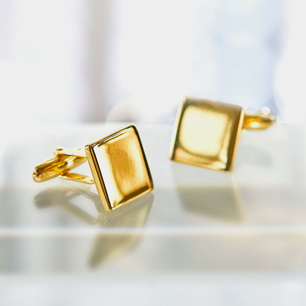 Men's Square Gold-Plated Silver Cufflinks, Silver 925/1000, 13 g-ANTORINI®