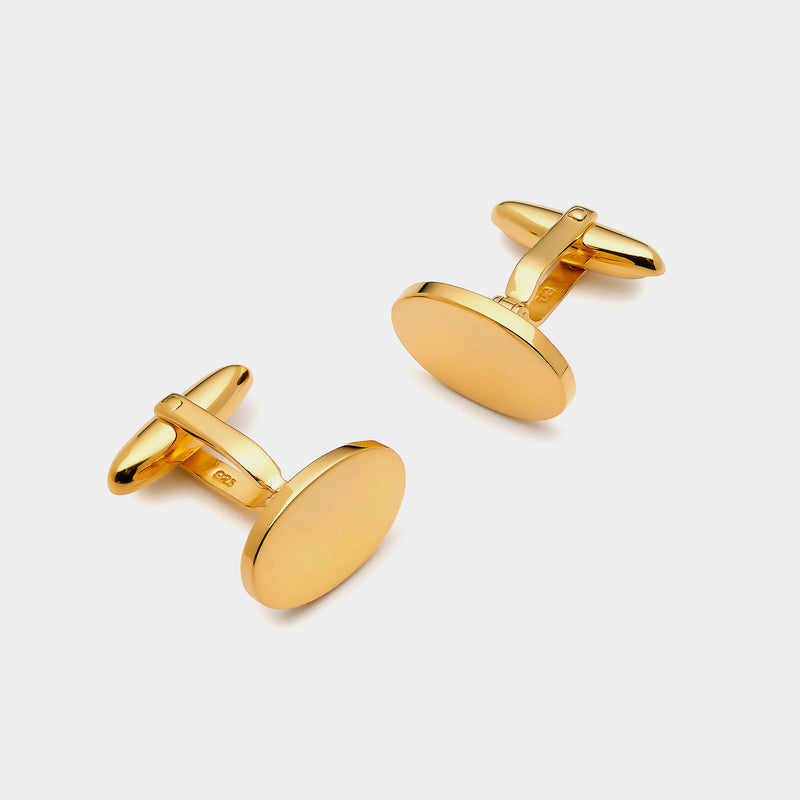 Men's Oval Gold-Plated Silver Cufflinks, Silver 925/1000, 12g-ANTORINI®