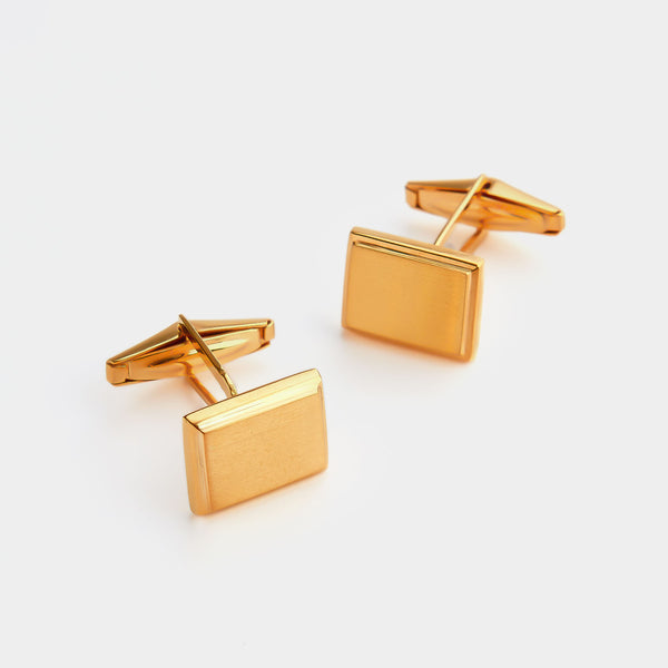 Men's Square Silver Cufflinks, Gold-Plated, Silver 925/1000, 13,4 g-ANTORINI®