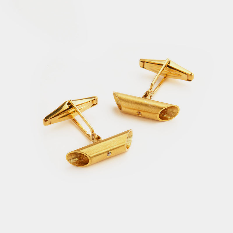 Men's Oval Silver Cufflinks with Diamond, Silver 925/1000, 14 g, Gold Plated-ANTORINI®
