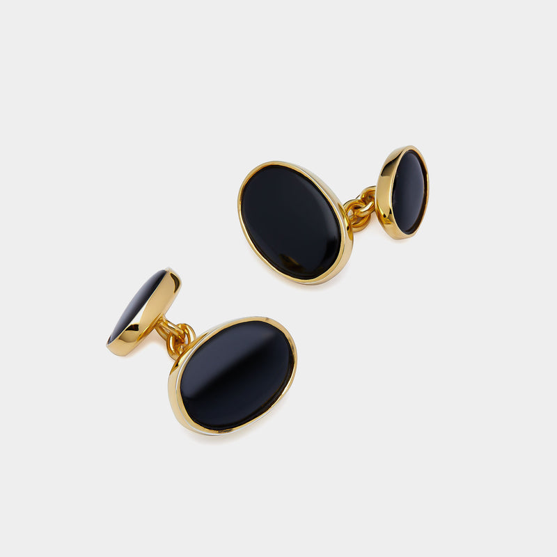 Chain Silver Cufflinks with Onyx, Silver 925/1000, 7 g, Gold-Plated-ANTORINI®
