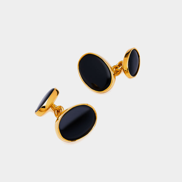 Men's Gold-Plated Chain Cufflinks, Black Onyx, Silver 925/1000, 7 g-ANTORINI®