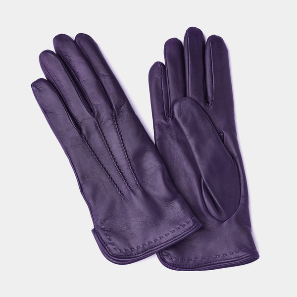 Wool Lined Leather Gloves in Purple-ANTORINI®