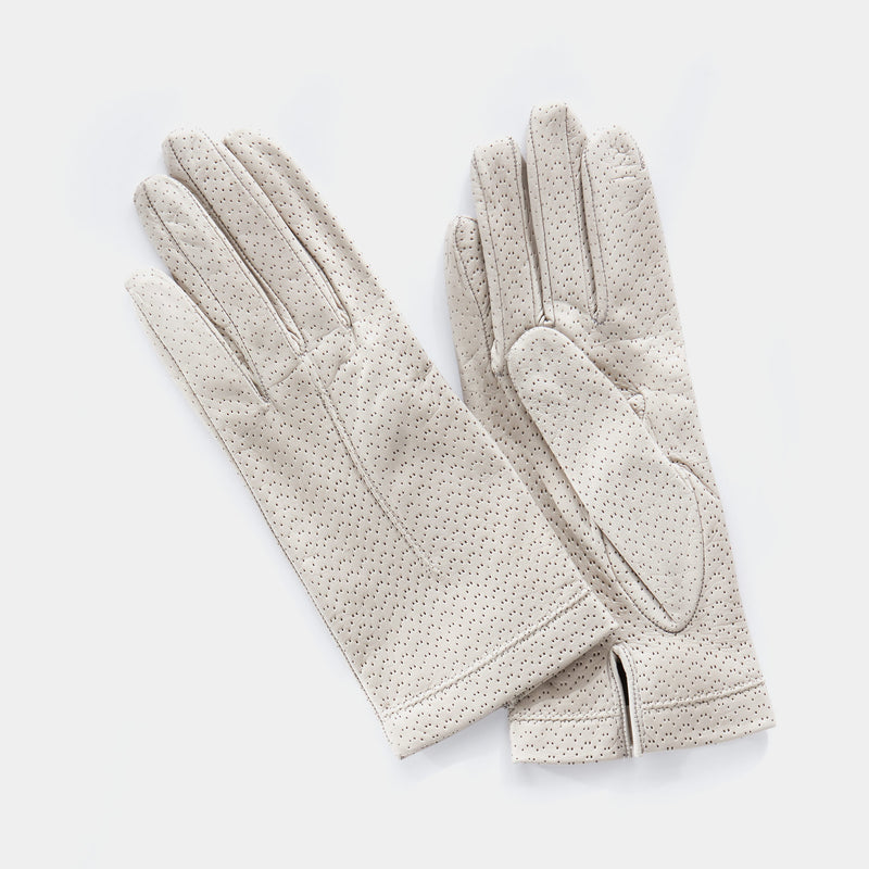 Silk Lined Leather Gloves in Light Grey-ANTORINI®
