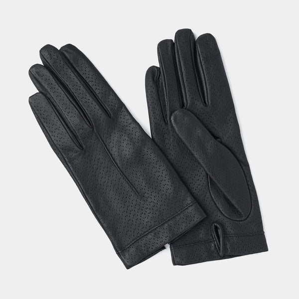 Silk Lined Leather Gloves in Dark Grey-ANTORINI®