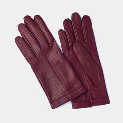 Silk Lined Leather Gloves in Burgundy-ANTORINI®
