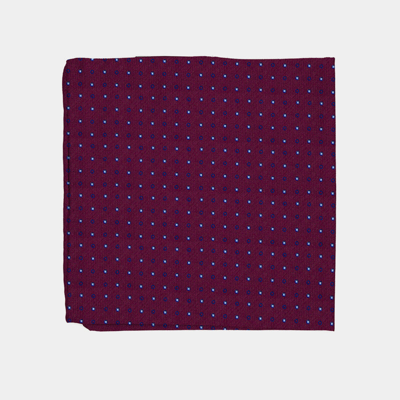 Silk Pocket Square in Dark Red with Circles-ANTORINI®