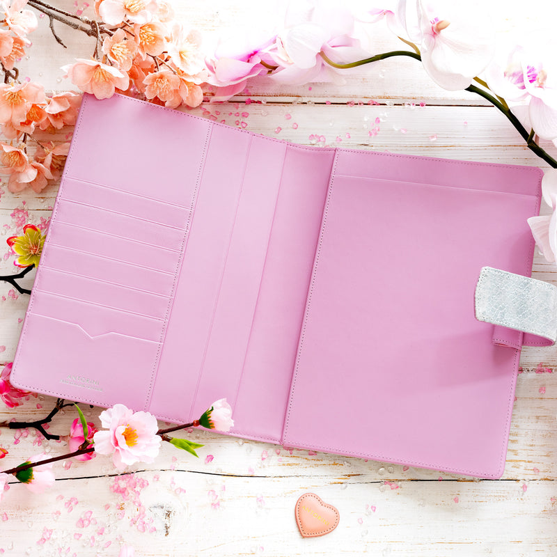 Leather A5 Padfolio in Silver and Pink with Notepad-ANTORINI®