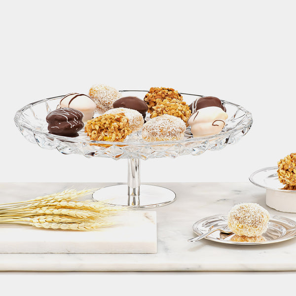 Glass Cake Stand Estrella with Silver-plated Decorations-ANTORINI®