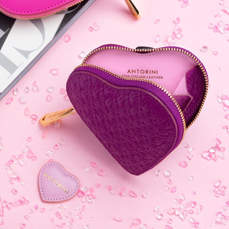 ANTORINI Heart Coin Purse, Purple with Flowers