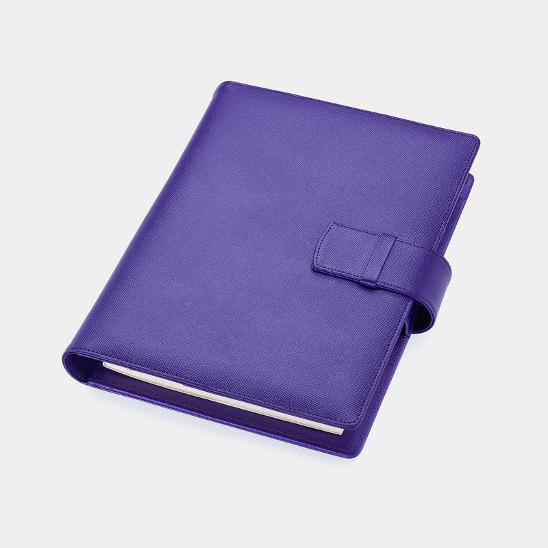 Leather A5 Portfolio in Purple Saffiano with Notepad-ANTORINI®