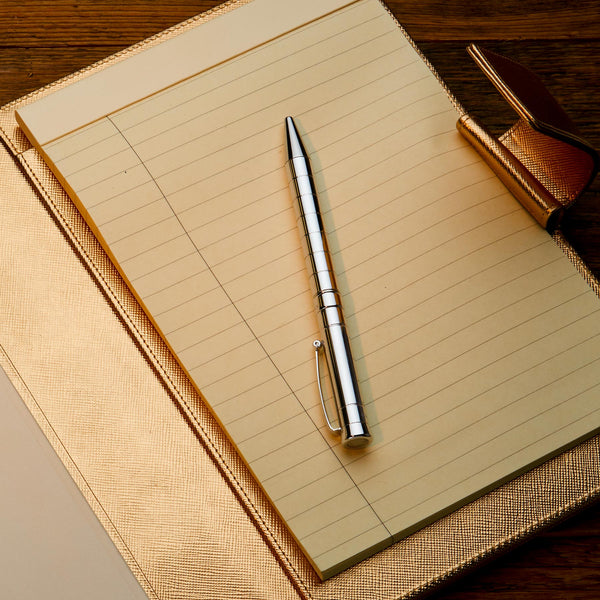 Leather A5 Padfolio in Gold Saffiano with Notepad-ANTORINI®