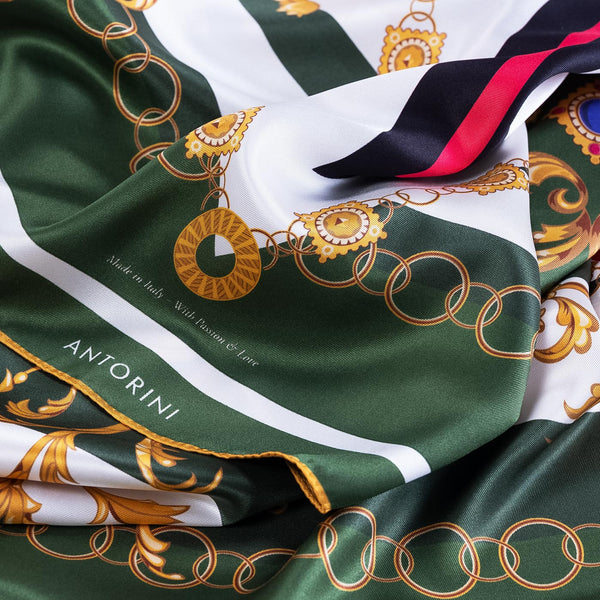 Silk Scarf ANTORINI Imperiale, Green-ANTORINI®