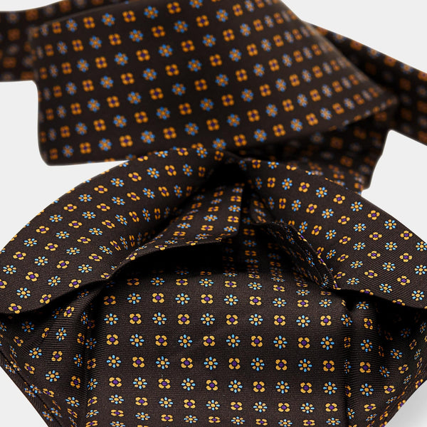 Silk Patterned Tie in Brown-ANTORINI®