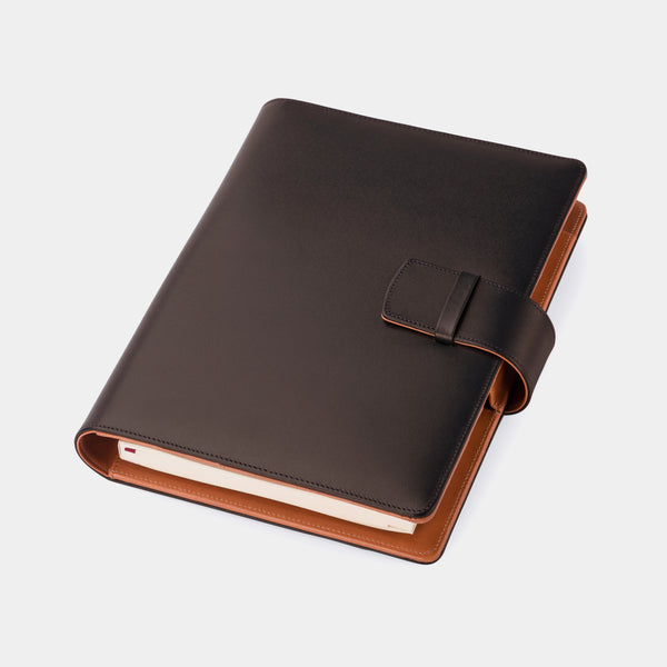 Leather A5 Padfolio in Dark Brown and Cognac with Notepad-ANTORINI®