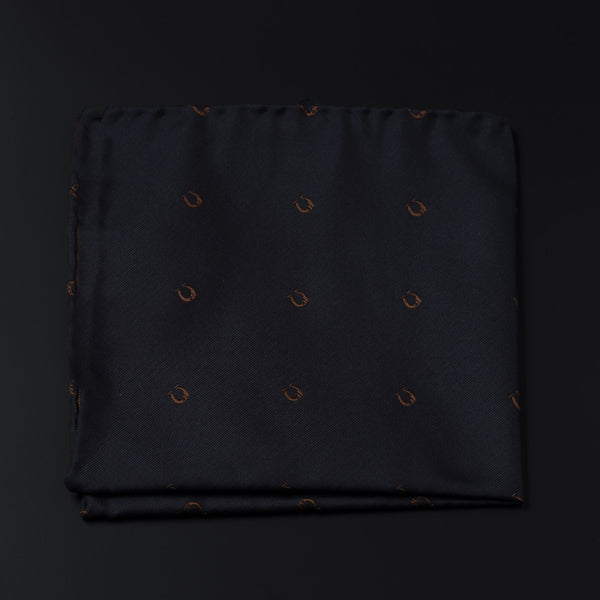 Jacquard Silk Pocket Square in Dark Navy With Horse Shoes-ANTORINI®