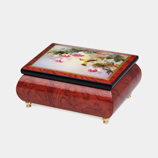 "Music Jewellery Box with Motive of ""Hummingbirds with Fuchsia""-ANTORINI®"