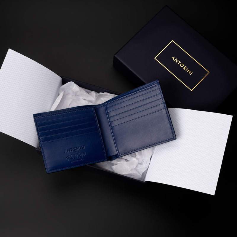blue mens wallet