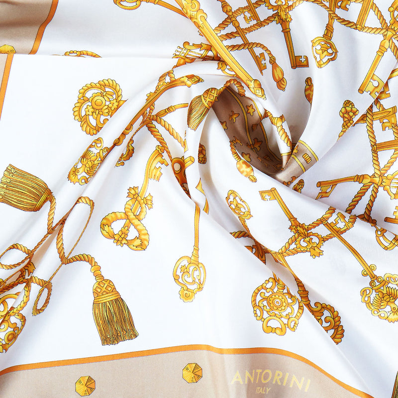 Golden Key Silk Scarf in Cream-ANTORINI®
