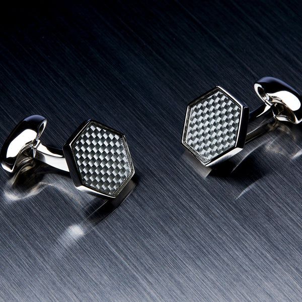 Hexagon Men's Cufflinks, Carbon Fiber, Grey-ANTORINI®