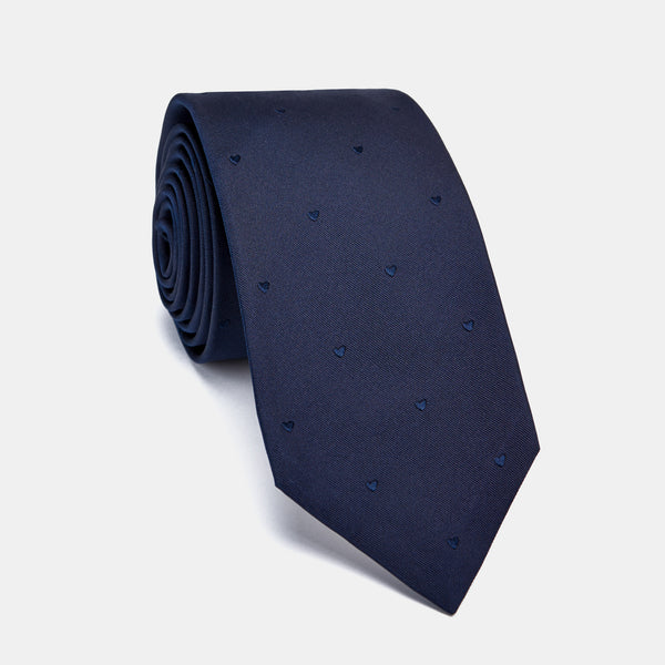Silk Love Tie in Navy with Embroidered Hearts and Coral Pendant-ANTORINI®