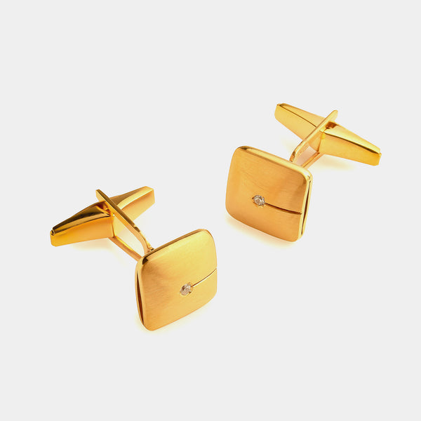 Men's Silver Cufflinks with Diamond, Silver 925/1000, 12 g, Gold-Plated-ANTORINI®