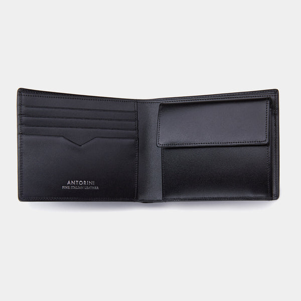 Men's Coin Wallet ANTORINI in Black Satin-ANTORINI®