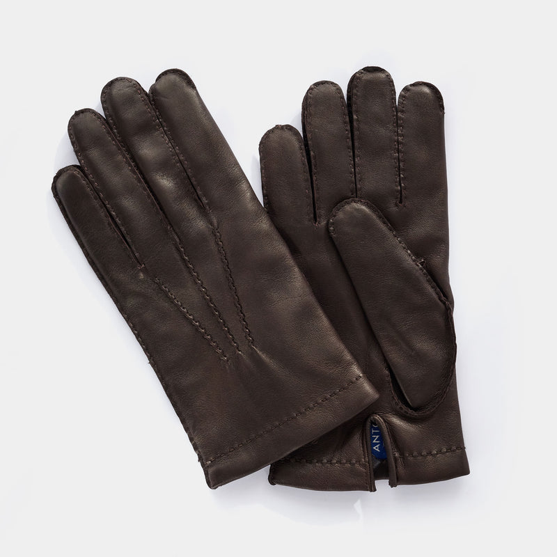 Leather Gloves for Men with Cashmere Lining in Dark Brown-ANTORINI®