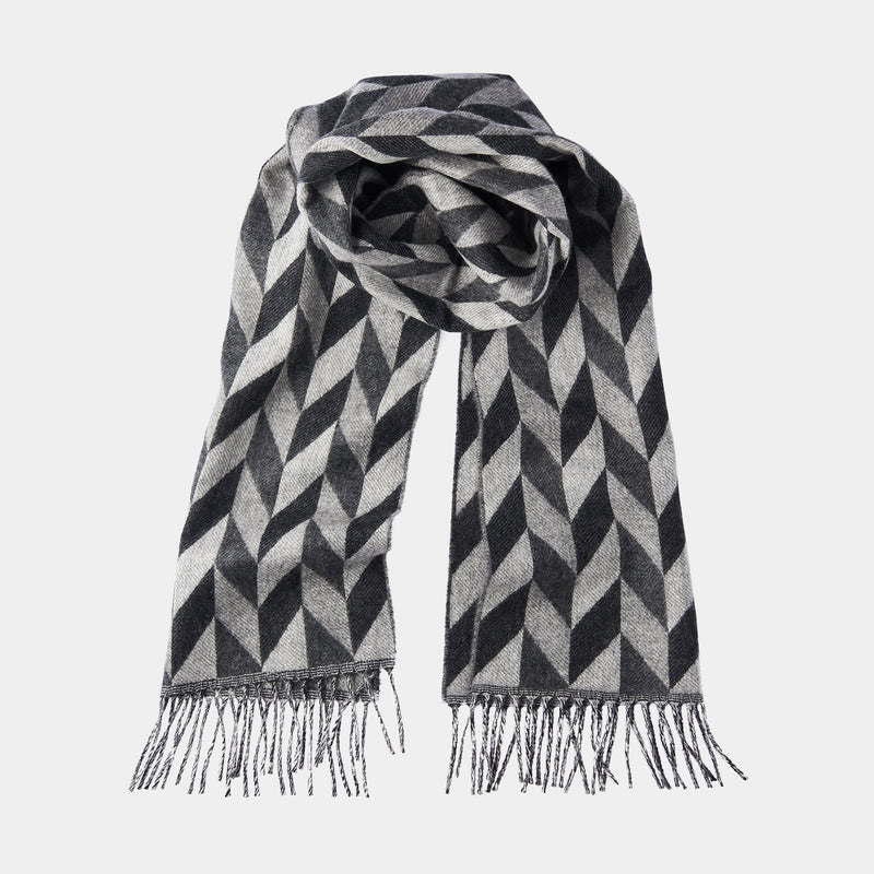 Men's Cashmere Scarf with Geometric Pattern in Dark and Light Grey-ANTORINI®
