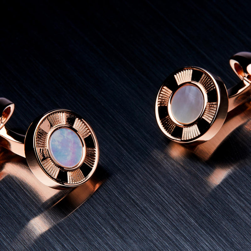 Round Men's Cufflinks, Mother of Pearl-ANTORINI®