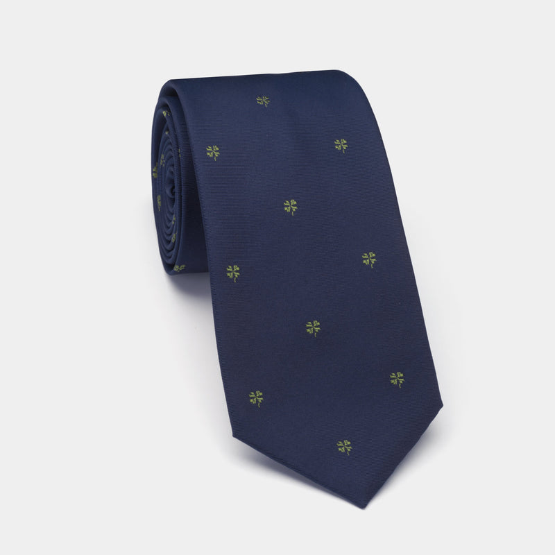 Silk Lucky Tie in Navy Blue with Four Leaf Clover and Coral Charm-ANTORINI®